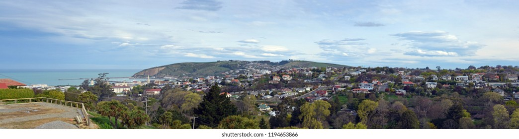 Panoramic view of Oamaru city,  Harbour and  Suburbs, North Otago, New Zealand.