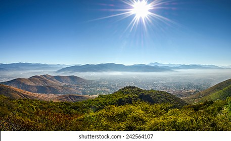 Panoramic view of Oaxaca from Monte Alban, Mexico