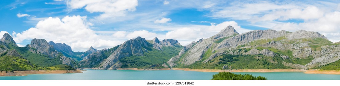 Panoramic view od reservoir in mountains of Picos de Europa. Cantabrian, Riano, province of Leon. Castile and Leon, northern Spain