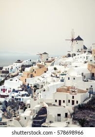 Panoramic view of Oia in Santorini island in Cyclades,Greece