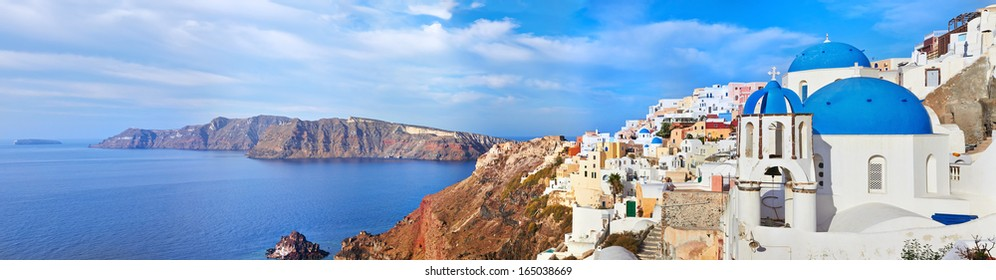 Panoramic view of Oia village on Santorini island, Greece.