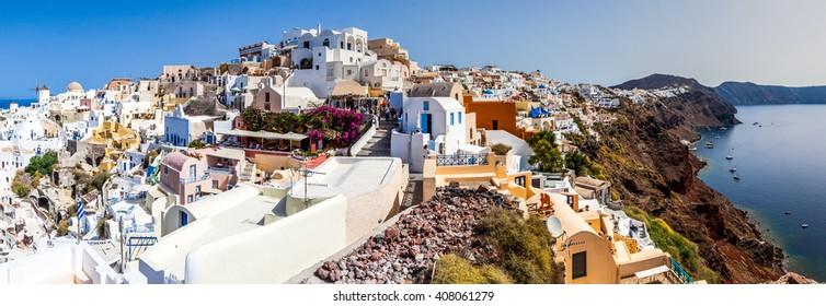 panoramic view of Oia village, Santorini island, Greece