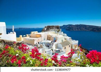 Panoramic view from Oia village at suny day on Santorini island, Greece.