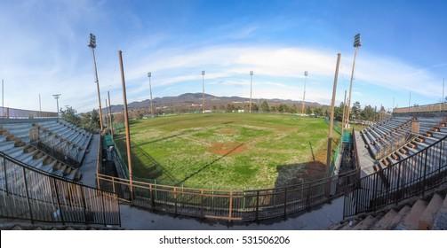Panoramic view of old abandoned baseball stadium