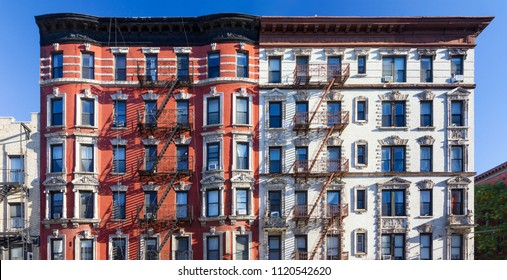 Panoramic view of old brick building against blue sky background in the East Village of Manhattan in New York City NYC