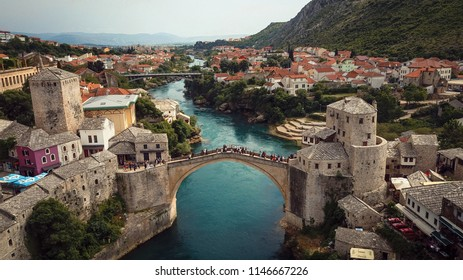 Panoramic view to the Old Bridge, Mostar, Bosnia and Herzegovina