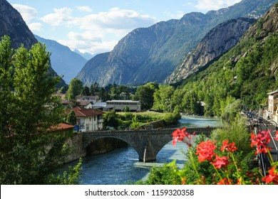 A panoramic view of a old bridge on the Dora Baltea. Hone, Aosta Valley - Italy