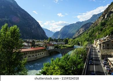A panoramic view of a old bridge on the Dora Baltea. Hone, Aosta Valley - Italy