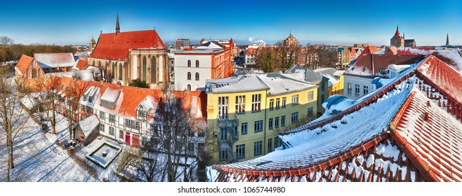 Panoramic view of the old centre of Rostock around the Abbey of the Holy Cross(Germany)