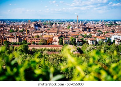 Panoramic view of old city of Bologna in in Emilia Romagna region, Italy.