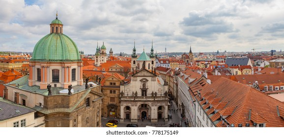 Panoramic view of old city with The Church of St. Francis, Klementinum, Prague, Czech Republic