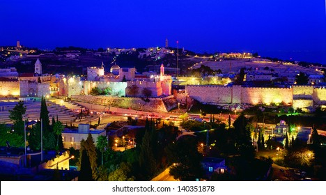 panoramic view of Old city of Jerusalem, Israel. at night.