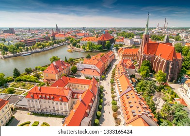 Panoramic view of the old city from St. Johns cathedral tower, Cathedral Island, Wroclaw, Poland.