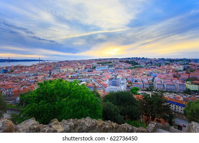 Panoramic view from old district of Lisbon at sunset