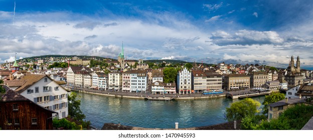 Panoramic view of old downtown Zurich with Limmat river in summer