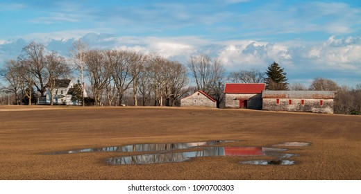 A panoramic view of an old farm in rural central New Jersey.