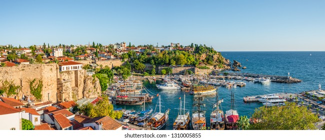 Panoramic view of old harbor and downtown called Marina in Antalya, Turkey