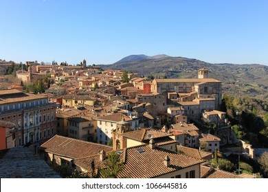 Panoramic view of the old italian town Perugia