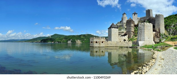 Panoramic view of old medieval fortress Golubac in Serbia, Europe