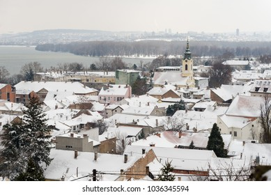 Panoramic view of old part of Belgrade, Zemun, covered with snow