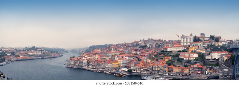 Panoramic view of Old Porto city and Ribeira over Douro river from Vila Nova de Gaia, Portugal