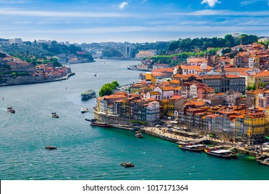 Panoramic view of Old Porto Oporto city and Ribeira over Douro river from Vila Nova de Gaia, Portugal