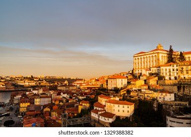 Panoramic view of Old Porto  over Douro river at sunset, Porto, Portugal