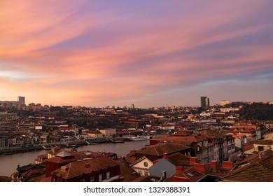 Panoramic view of Old Porto  over Douro river at sunrise, Porto, Portugal