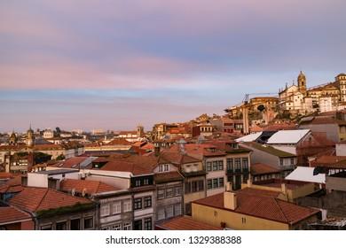 Panoramic view of Old Porto   at sunrise, Porto, Portugal