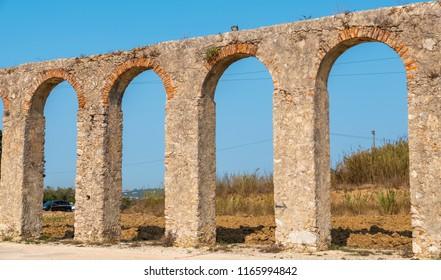 Panoramic view of old  Roman Aqueduct (Aqueduto da Usseira). Obidos, Portugal