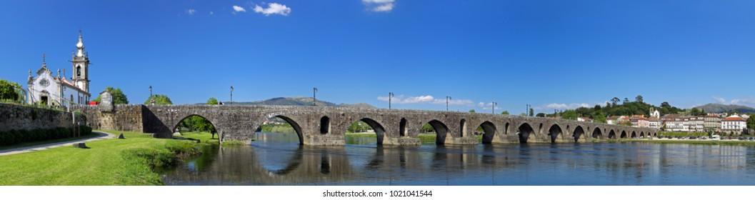Panoramic view of the old romanic bridge of Ponte de Lima