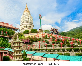 Panoramic view of old sacred Buddhist Kek Lok Si Temple, Penang, Malaysia, Georgetown