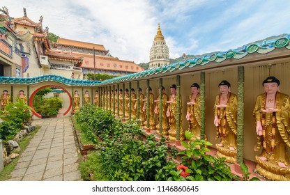 Panoramic view of old sacred Buddhist Kek Lok Si Temple, Penang, Malaysia, Georgetown