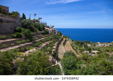 Panoramic view of the old Spanish town of Banyalbufar with terraces