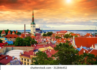 Panoramic view of Old Tallinn city at sunset, Estonia