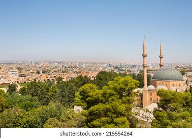 Panoramic view of a old town city Urfa  (Sanliurfa) as viewed from the castle - Urfa, Turkey