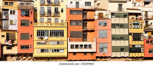 Panoramic view of the old town with colorful houses in Girona, Catalonia, Spain