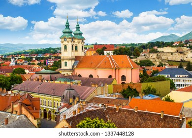 Panoramic view of old town of Eger (Hungary) from the Eszterhazy University. Church of Anthony of Padua,  Castle of Eger.