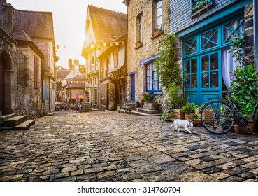 Panoramic view of old town in Europe in beautiful evening light at sunset with retro vintage Instagram style filter and lens flare effect