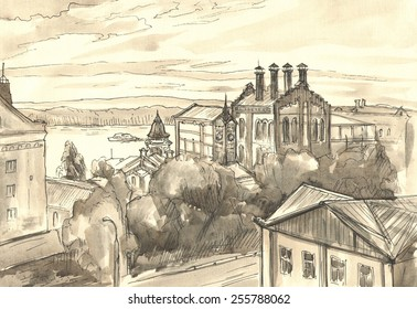 Panoramic view of the old town. Graphics. Drawing