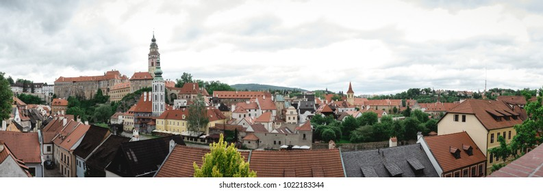 Panoramic view of old town krumlov, czech republic