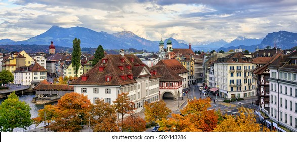 Panoramic view of the Old Town of Lucerne with Alps mountains in background, Switzerland