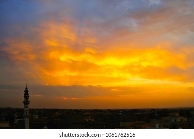 Panoramic view of old town of Mandawa during sunset in Rajasthan, India.