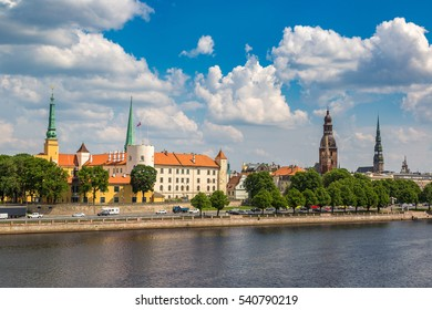 Panoramic view of old town in Riga in a beautiful summer day, Latvia