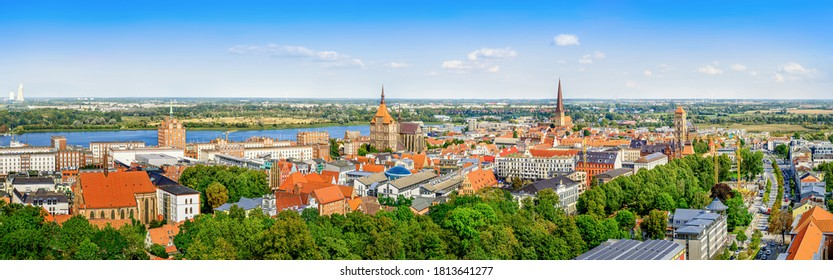 panoramic view at the old town of rostock, germany