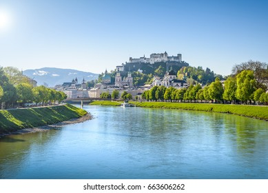 Panoramic view of the old town of Salzburg, Austria