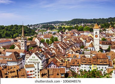 Panoramic view of the old town of Schaffhausen, Switzerland from Munot fortress. Swiss canton of Schaffhausen in northern Switzerland