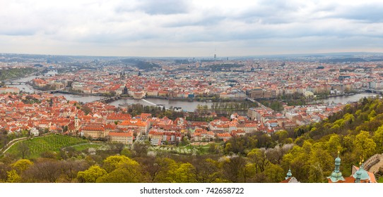Panoramic view of old town with tiled roofs, Prague, Czech Republic