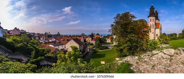 Panoramic view of the old town of Visby in Gotland, Sweden
