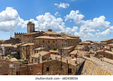panoramic view of old town of Volterra, tuscany, italy